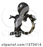 Clipart Of A 3d Black Man Presenting And Leaning Against An Engagement Ring On A White Background Royalty Free Illustration by KJ Pargeter