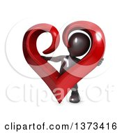 3d Black Man Hugging A Love Heart On A White Background