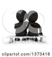 Clipart Of A Rear View Of A 3d Black Couple Sitting On A Bench On A White Background Royalty Free Illustration