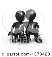 Clipart Of A 3d Black Couple Sitting On A Bench On A White Background Royalty Free Illustration