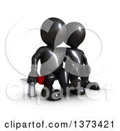 Clipart Of A 3d Black Man Holding A Rose And Sitting Next To His Love On A White Background Royalty Free Illustration