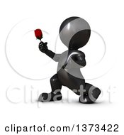 Clipart Of A 3d Romantic Black Man Holding Out A Rose On A White Background Royalty Free Illustration