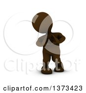 Clipart Of A 3d Brown Man Forming A Heart With His Hands On A White Background Royalty Free Illustration