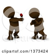 Clipart Of A 3d Brown Man Giving A Woman A Rose As She Gestures A Heart On A White Background Royalty Free Illustration