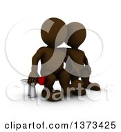 Clipart Of A 3d Brown Man Holding A Rose And Sitting Next To His Love On A White Background Royalty Free Illustration