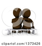 Clipart Of A Rear View Of A 3d Brown Couple Sitting On A Bench On A White Background Royalty Free Illustration