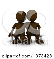 Clipart Of A 3d Brown Couple Sitting On A Bench On A White Background Royalty Free Illustration