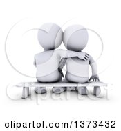 Clipart Of A Rear View Of A 3d White Couple Sitting On A Bench On A White Background Royalty Free Illustration