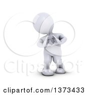 3d White Man Forming A Heart With His Hands On A White Background