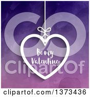 Clipart Of A Suspended White Heart With Be My Valentine Text Over Purple Watercolour Royalty Free Vector Illustration