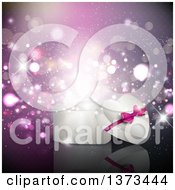 Clipart Of A 3d Heart Shaped Valentines Day Gift Box Over Purple Magical Flares Royalty Free Vector Illustration
