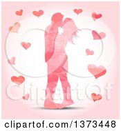 Clipart Of A Pink Watercolour Painted Valentines Day Couple Kissing With Hearts Royalty Free Vector Illustration