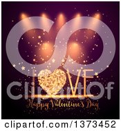 Clipart Of A Happy Valentines Day Greeting With A Heart In The Word Love Stars And Sparkles Over Spotlights Royalty Free Vector Illustration by KJ Pargeter