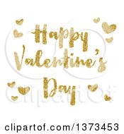 Clipart Of A Happy Valentines Day Greeting And Hearts In Gold Glitter Over White Royalty Free Vector Illustration