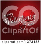 Clipart Of A 3d White Happy Valentines Day Text And Shadows Over Red Royalty Free Vector Illustration by KJ Pargeter