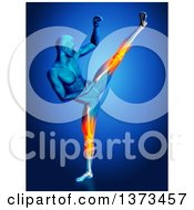 Clipart Of A 3d Blue Anatomical Man Kick Boxing With Visible Glowing Knee And Leg Pain On Blue Royalty Free Illustration