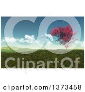 Clipart Of A 3d Autumn Maple Tree In A Hilly Grassy Landscape Royalty Free Illustration by KJ Pargeter