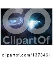 Clipart Of A 3d Fictional Planet With Spiral Galaxy Nebula And Stars Royalty Free Illustration