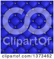 Clipart Of A Background Of 3d Blue Quilted Leather Upholstery Royalty Free Illustration