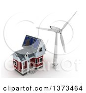 Poster, Art Print Of 3d House With Solar Panels On The Roof And A Wind Turbine Windmill On A White Background