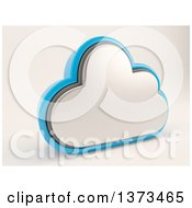 Clipart Of A 3d Cloud Drive Storage Icon On Shaded White Royalty Free Illustration