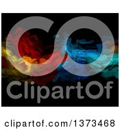 Clipart Of A Background Of Colorful Oil Paint Strokes On Black Royalty Free Illustration by KJ Pargeter