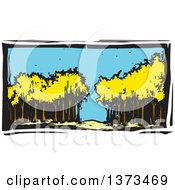 Clipart Of A Woodcut Landscape Of Trees In A Forest Royalty Free Vector Illustration by xunantunich