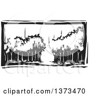 Clipart Of A Black And White Woodcut Landscape Of Trees In A Forest Royalty Free Vector Illustration by xunantunich
