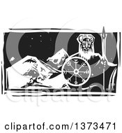 Clipart Of A Black And White Woodcut Viking Warrior Over Mountains At Night Royalty Free Vector Illustration by xunantunich