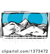 Clipart Of A Woodcut Landscape Of Mountains Royalty Free Vector Illustration by xunantunich