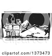Black And White Woodcut Landscape Of A Castle And Mountains At Night