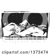 Clipart Of A Black And White Woodcut Landscape Of Mountains At Night Royalty Free Vector Illustration by xunantunich