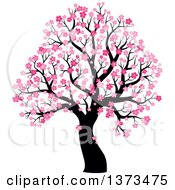 Clipart Of A Silhouetted Tree With Pink Spring Blossoms Royalty Free Vector Illustration