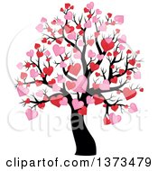 Clipart Of A Valentines Day Tree With Pink And Red Heart Foliage Royalty Free Vector Illustration by visekart
