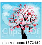 Clipart Of A Valentines Day Tree With Pink And Red Heart Foliage Over Blue Sky Royalty Free Vector Illustration by visekart