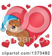 Clipart Of A Cartoon Cute Brown Bear Sleeping Over Red Valentine Hearts Royalty Free Vector Illustration
