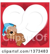 Clipart Of A Valentine Heart Shaped Frame Of A Cute Brown Bear Sleeping Royalty Free Vector Illustration