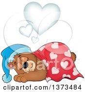 Clipart Of A Cartoon Cute Brown Bear Sleeping And Dreaming Under Hearts Royalty Free Vector Illustration by visekart