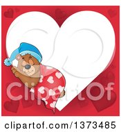 Clipart Of A Valentine Heart Shaped Frame Of A Cute Brown Bear Sleeping With A Blanket And Night Cap Royalty Free Vector Illustration
