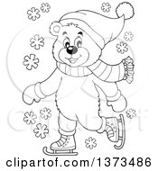 Clipart Of A Black And White Bear Ice Skating And Wearing Winter Accessories Royalty Free Vector Illustration