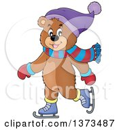Clipart Of A Happy Bear Ice Skating And Wearing Winter Accessories Royalty Free Vector Illustration
