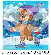 Clipart Of A Happy Bear Ice Skating In The Snow Royalty Free Vector Illustration