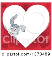 Clipart Of A Heart Shaped Valentines Day Frame With A Happy Gray Bunny Rabbit Royalty Free Vector Illustration