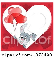 Clipart Of A Heart Shaped Valentines Day Frame With A Happy Gray Bunny Rabbit Holding Balloons Royalty Free Vector Illustration