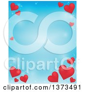 Clipart Of A Blue Valentines Day Background With Red Hearts Royalty Free Vector Illustration by visekart