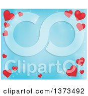 Clipart Of A Blue Valentines Day Background With Red Hearts Royalty Free Vector Illustration