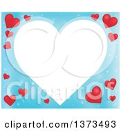 Clipart Of A Heart Shaped Frame Over A Blue Valentines Day Background With Red Hearts Royalty Free Vector Illustration
