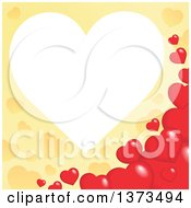 Clipart Of A Heart Shaped Frame Over A Yellow Valentines Day Background With Red Hearts Royalty Free Vector Illustration