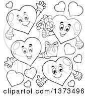 Clipart Of Black And White Valentine Heart Characters Royalty Free Vector Illustration