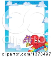 Clipart Of A Border Of A Valentine Heart Character Holding Flowers Rainbow And Sky Royalty Free Vector Illustration